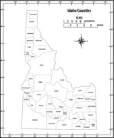 idaho state outline administrative and political vector map in black and white