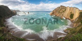 Idyllic coastline panorama landscape in Cantabric sea, Playa del silencio, (silence beach) Asturias, Spain.