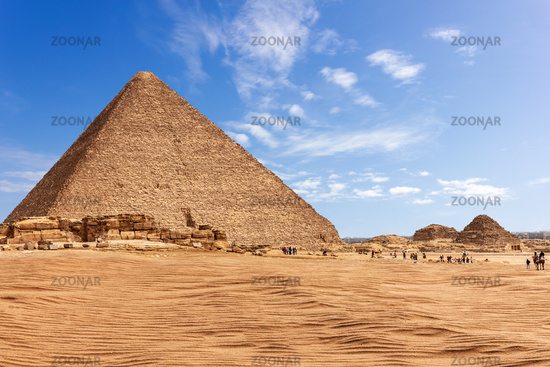 The Pyramid of Menkaure in sunny desert of Giza, Egypt