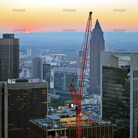 view from Main Tower to construction in the financial district in the evening, Frankfurt am Main
