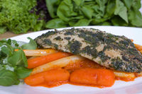 Catfish with herbs and vegetables