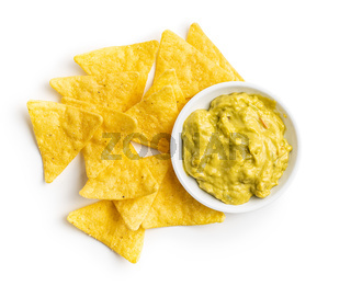 Corn nacho chips. Yellow tortilla chips.