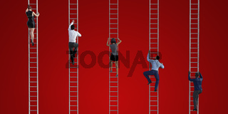 Business People Climbing Ladders