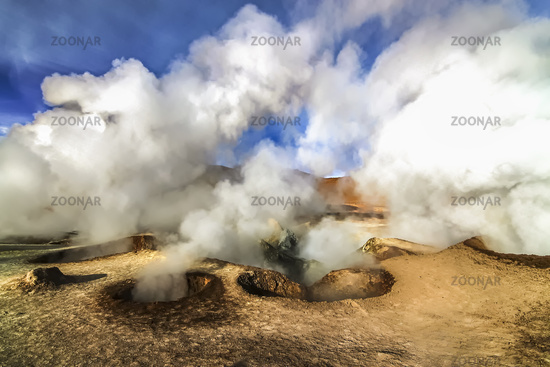 Hot steam pool geysers at Sol de Manana, Bolivia