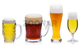 Different beers isolated against a white background.