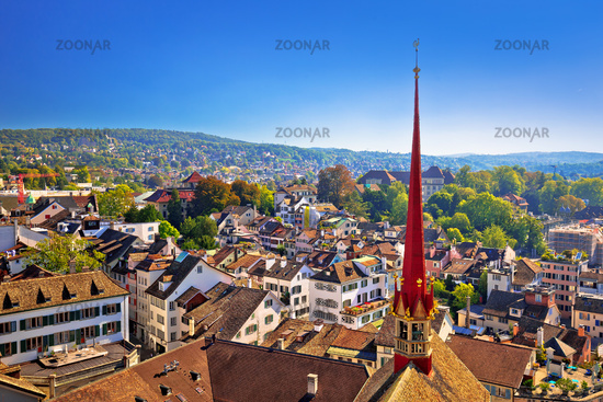 City of Zurich rooftops and cityscape aerial view