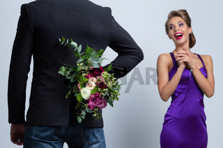 Man with flowers at date