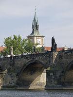 Saint Charles bridge over Vltava river in Prague