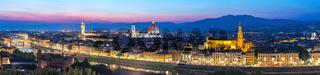 Florence Italy, sunset panorama city skyline