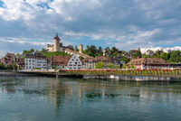 Cityscape of Schaffhausen with the river Rhine and fortress Munot