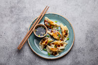 Asian dumplings on blue plate