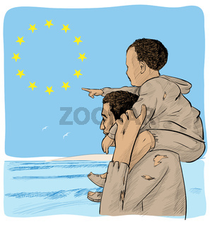 father and son immigrants in front of the European flag