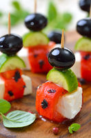 Feta skewers with grilled pepper