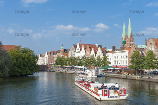 Historical cityscape at the Trave river in Lubeck