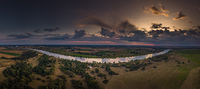 Aerial photograph / Panorama of the Elbe at sunset