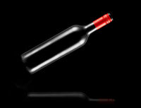 flying, bottle, wine, black background, reflection, alcohol, drink,