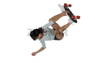 Woman riding skateboard