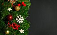 Fir tree and christmas decor