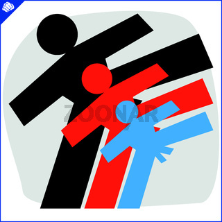 Karate high kick emblem. Martial art colored simbol design. Vector, EPS.
