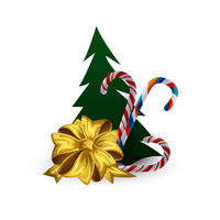 Festive composition with Christmas tree, candyes and berries on a white background.