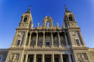 Madrid, Spain Catedral de Santa Maria La Real de La Almudena facade.