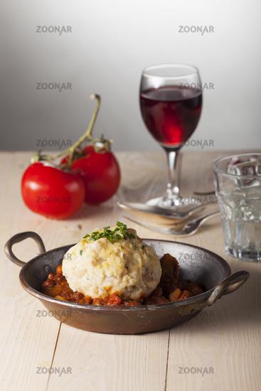 Hungarian goulash in a pot