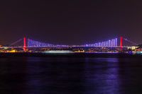 The Bosphorus Bridge or the 15 July Martyr's bridge, night panorama, Istanbul