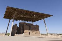 Ancient Native American community building rests at Casa Grande Ruins in Arizona.