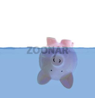 Upside down floating piggy bank