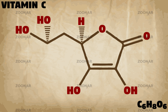 Detailed illustration of the molecule of Vitamin C