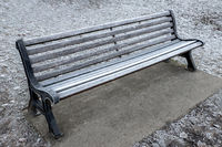 Frozen wooden bench