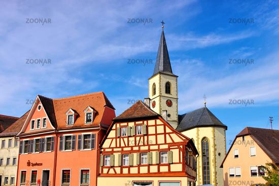 die Stadt Aub in Deutschland, viele Fachwerkhäuser - the town Aub in Germany, many timbered houses