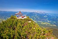 Eagle's Nest or Kehlsteinhaus hideout on the rock above Alpine landscape