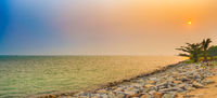 Sunset over the Straits of Malacca. Panorama