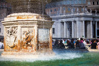 Vatican fountain in St. Peter's Square in Rome. Vatican City Italy