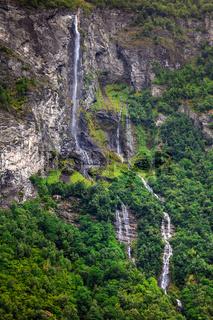 beautiful waterfalls in the mountain