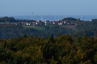 Behind Grossviehberg appears the scenery of Nuremberg, Franconia, Bavaria.