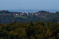 Behind Grossviehberg appears the scenery of Nuremberg, Franconia, Bavaria.