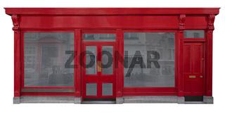 Geschäftsfassade mit rotem Eingang aus Holz freigestellt auf weißem Hintergrund