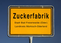 Entrance sign of Zuckerfabrik, Bad Freienwalde, district of Maerkisch-Oderland, Germany, Europe