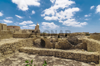 Gozo island, Malta Citadel fortified town remains.