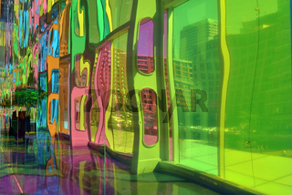 Reflection of Colourful stained glass inside the Montreal convention center