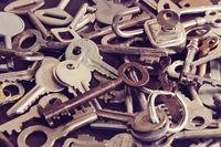 Vintage metal keys to a door and furniture