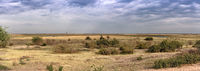 Landscape of the almost dried up Chobe River at the end of the dry season just before the confluence with the Zambezi River Botswana