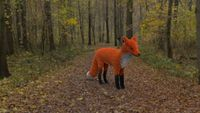 Toy red fox in the forest 3d illustration