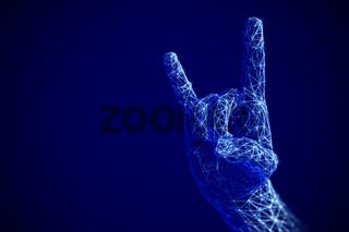 Digital art concept: rock  roll or heavy metal sign gesture in cyberspace.