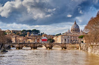 St. Peter's cathedral and Tiber river in Rome