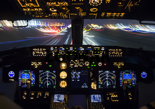 Cockpit of a passenger plane. View from the cockpit during