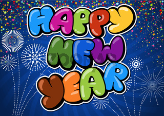 Colorful Happy New Year Greeting on Blue Background