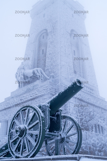 Old cannons. - Shipka, Gabrovo, Bulgaria. The Shipka Memorial is situated on the peak of Shipka.